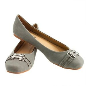 Gray Flats with Silver Colored Buckles size 8